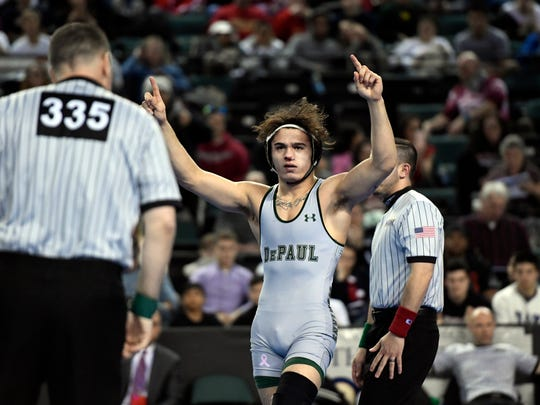 Ricky Cabanillas of DePaul wins the 145-pound title during the NJSIAA state wrestling championships in Atlantic City, NJ on Sunday, March 4, 2018. Cabanillas won by decision, 5-2.