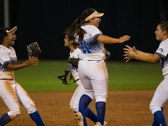 Santa Gertrudis celebrates winning the 3A state championship game against Hughes Springs at McCombs Field in Austin on Thursday, May 31, 2018.