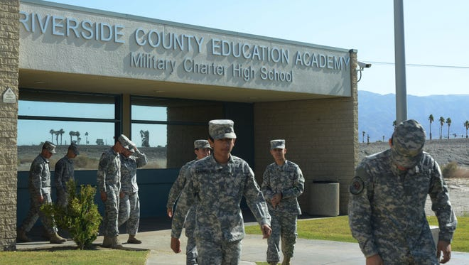 Students at the Riverside County Education Academy in Indio use the school's military theme to help them focus on academics, administrators say.