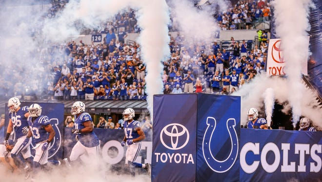 The Indianapolis Colts take the field to face off against the Cleveland Browns at Lucas Oil Stadium on Sunday, Sept. 24, 2017.