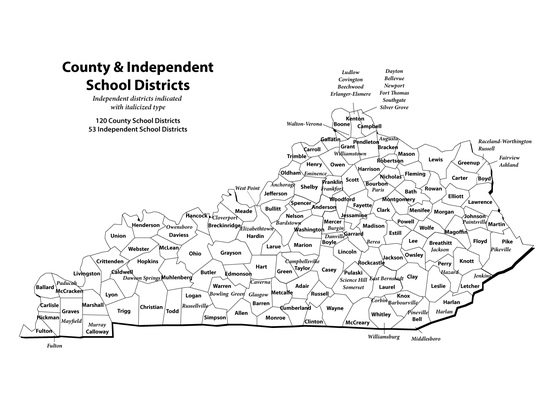 County and independent school districts in Kentucky.