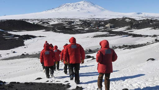 U.S. Secretary of State John Kerry and members of his delegation hike towards the historic Shackleton hut near McMurdo Station, Antarctica on Friday, Nov. 11, 2016. Secretary Kerry is traveling to Antarctica, New Zealand, Oman, United Arab Emirates, Morocco, and will attend APEC in Peru on his 9 day trip.