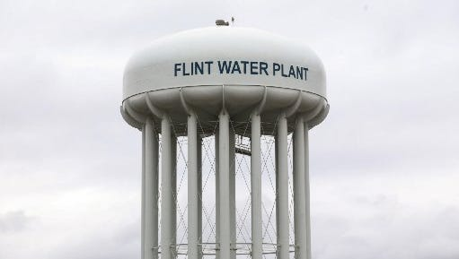 The Flint Water Plant water tower.