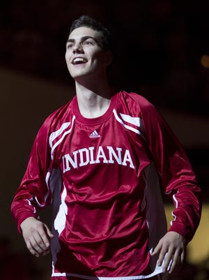 Indiana's Max Hoetzel is introduced during Hoosier Hysteria, Oct. 25, 2014, at Assembly Hall in Bloomington.