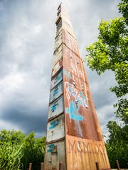 Bren Alverez's 38-drawer tall filing cabinet sculpture on Flynn Avenue was built in 2002, in the path of the proposed Champlain Parkway. Photographed May 31, 2012.