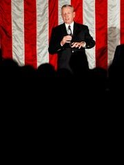 Former Governor of Missouri  and U.S. Attorney General John Ashcroft speaks to a crowd attending a rally in favor of statewide Republican candidates held at National Safety Compliance in Springfield, Mo. on Nov. 2, 2016