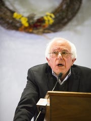 Bernie Sanders speaks during his book tour stop at