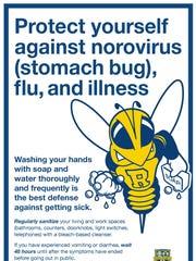 Norovirus prevention poster on UR campus.