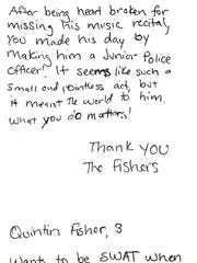 The note from the Fisher family.
