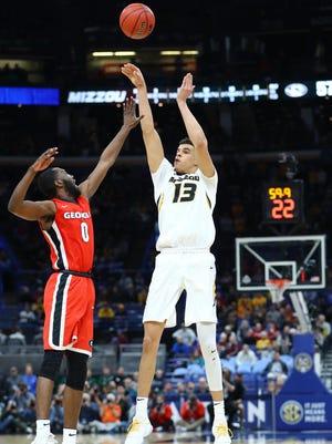 Missouri freshman forward Michael Porter Jr. launches a three-pointer Thursday during the Tigers' SEC tournament loss to Georgia.