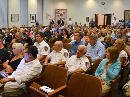 A typical packed public meeting for the Bernards Planning Board hearings on the Liberty Corner mosque - this one in 2012. Tuesday's meeting was so packed officials had to turn away members of the public.