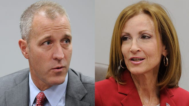 U.S. Rep Sean Maloney, D-Cold Spring, left, and Nan Hayworth, R-Bedford