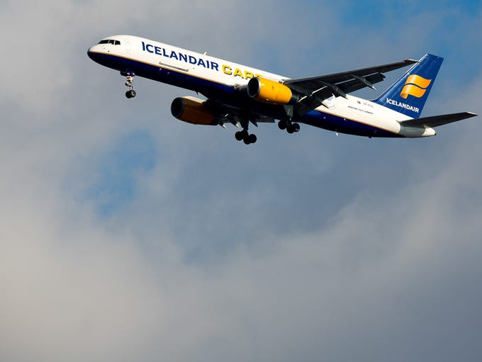 An Icelandair Cargo Boeing 757-200 lands at New York's