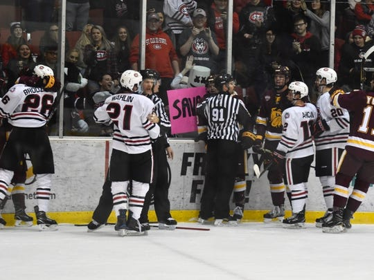 Players got into a fracas at the end of the first period in a game Friday between St. Cloud State and Minnesota-Duluth at the Herb Brooks National Hockey Center.