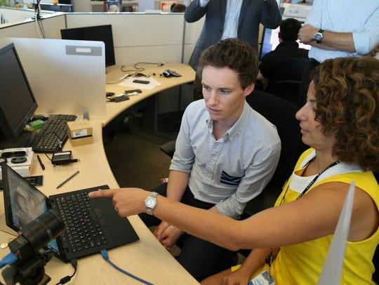 Actor Eddie Redmayne is shown Intel's new communication
