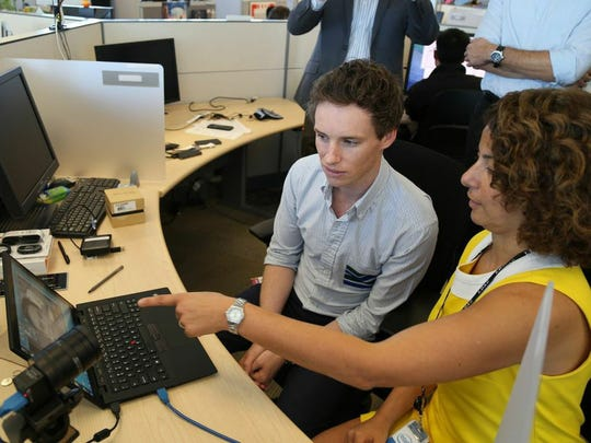 Actor Eddie Redmayne is shown Intel's new communication