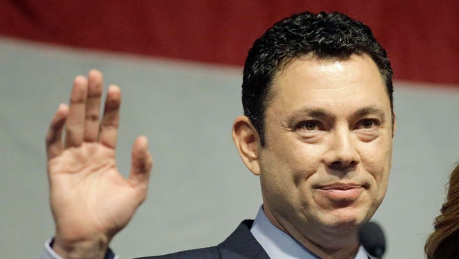 In this May 20, 2017 file photo, U.S. Rep. Jason Chaffetz waves after addressing the Utah GOP Convention in Sandy, Utah.