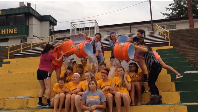 The Reynolds volleyball team took the ALS Ice Bucket Challenge on Wednesday.