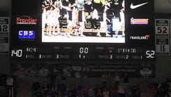 The scoreboard at the University of Connecticut displays
