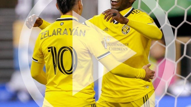 Gyasi Zardes, right, Lucas Zelarayan and the rest of the Crew will be placed in one of the three Eastern Conference groups at the tournament in Orlando, Fla.