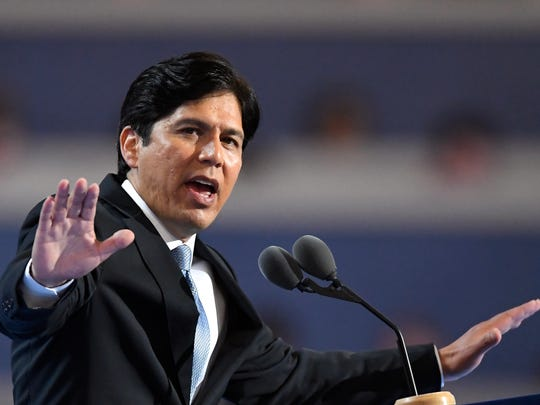 California Senate Leader Kevin de León, D- Los Angeles, speaks during the first day of the Democratic National Convention in Philadelphia on July 25, 2016.