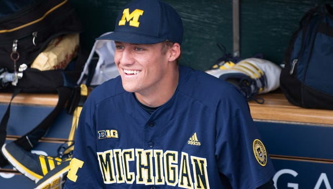 Jake Bivens (18) of the Wolverines has signed to join the Detroit Tigers organization
