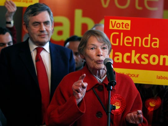 LONDON, ENGLAND - MAY 02:  Britain's Prime Minister Gordon Brown listens as former actress and Labour Party MP Glenda Jackson speaks during a party meeting in a pub in Kilburn on May 2, 2010 in London, England. The General Election, to be held on May 6, 2010 is set to be one of the most closely fought political contests in recent times with all main party leaders embarking on a four week campaign to win the votes of the United Kingdom.(Photo by Andrew Winning - WPA Pool/Getty Images)