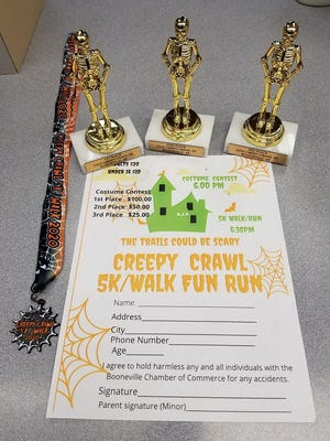 A limit of 50 medals will be available for participants of the Booneville Chamber of Commerce Creepy Crawl 5K/Walk Fun Run on Saturday, Oct. 24, at Marcelle Phillips Park.