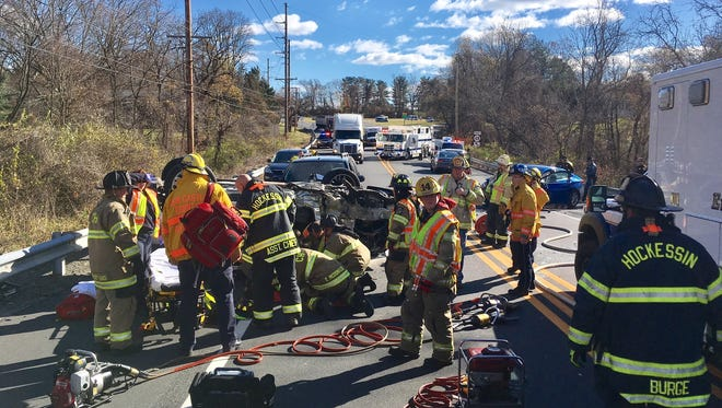 A crash has closed both directions of Lancaster Pike in Hockessin.