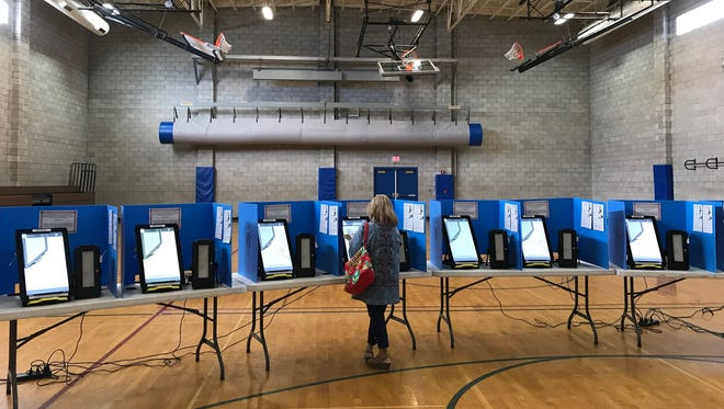 Voters were few and far between during mid-morning hours at the Reno High School polling location during the Nevada primary Tuesday, June 12, 2018. Polls are open until 7 p.m.