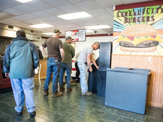 Customers line up at Cereal City Burgers.