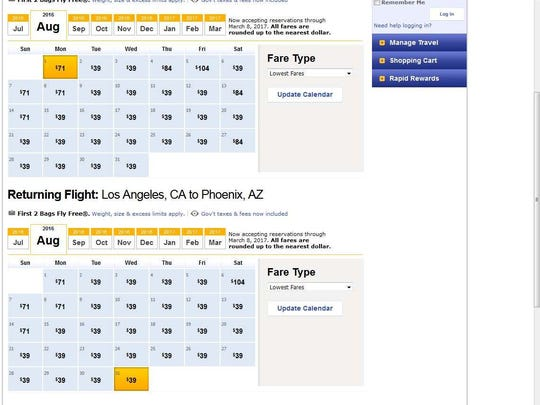 Cheap flights from PHX to LAX.