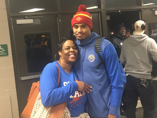 Iowa State signee Talen Horton-Tucker poses with his mom, Shirley Horton, after a Simeon basketball game this year.