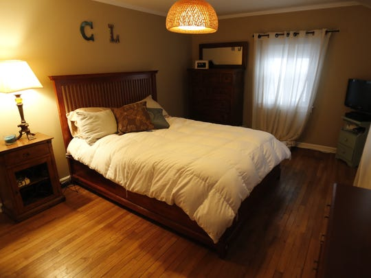 The master bedroom of Lauren Hall-Gregory and Colleen Mullen, both 33, at their new home in Ossining