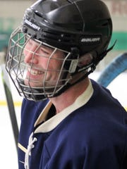 Vince Stempien wore a big smile after his Our Lady of Sorrow team scored the game-winning goal against Sacred Heart Major Seminary.
