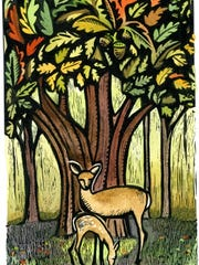 """Claudia McGehee has been an Eastside artist for over a decade. Her distinctive wood-cut-like images reflect themes in nature such as in """"Acorns with Mom."""""""