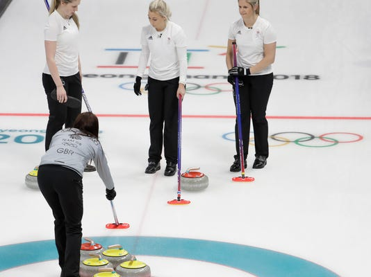 Britain's skip Eve Muirhead, below, gives instructions to Lauren Gray, left, Anna Sloan, center, and Vicki Adams during a women's curling match against Canada at the 2018 Winter Olympics in Gangneung, South Korea, Wednesday, Feb. 21, 2018. (AP Photo/Natacha Pisarenko)