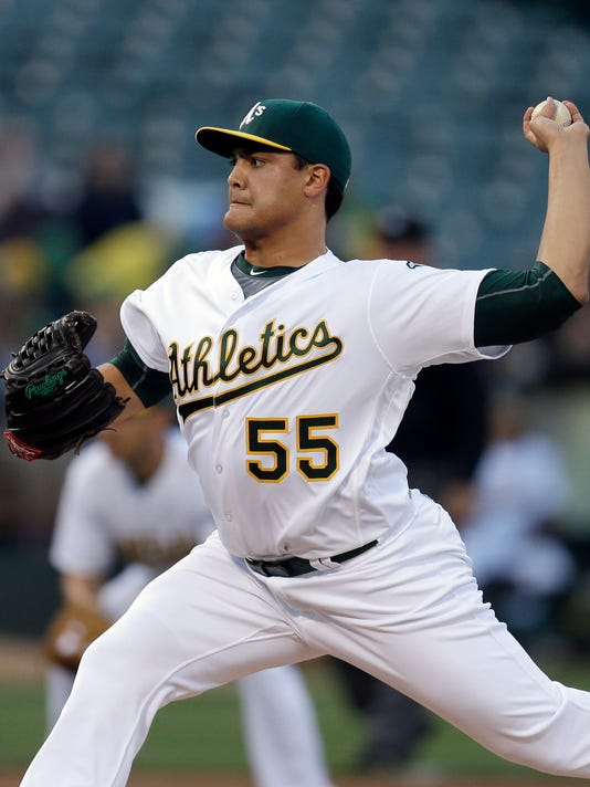 Oakland Athletics pitcher Sean Manaea works against the Texas Rangers in the first inning of a baseball game, Monday, May 16, 2016, in Oakland, Calif. (AP Photo/Ben Margot)