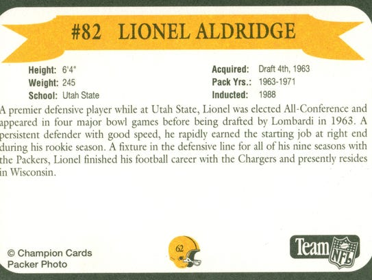 Packers Hall of Fame player Lionel Aldridge