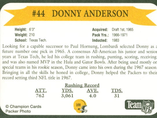 Packers Hall of Fame player Donny Anderson