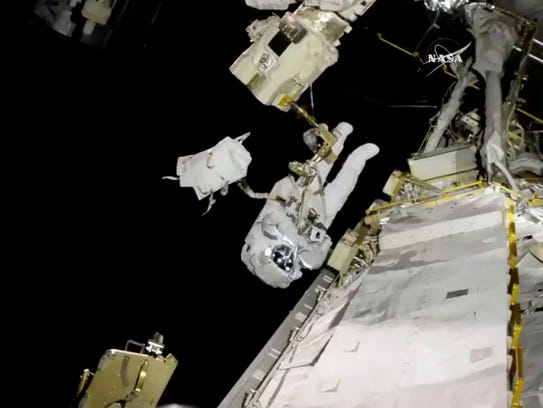 In this image from video made available by NASA, astronaut
