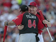Todd Frazier and Prince Fielder hug on stage as they're introduced as first round opponents in the Home Run Derby.
