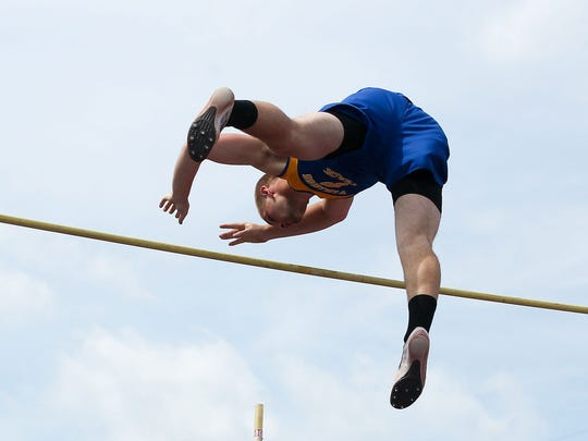 Damian DiAngelis, of Northern Lebanon, finished second in the boys pole vault at the Lancaster-Lebanon League Track & Field Championships.