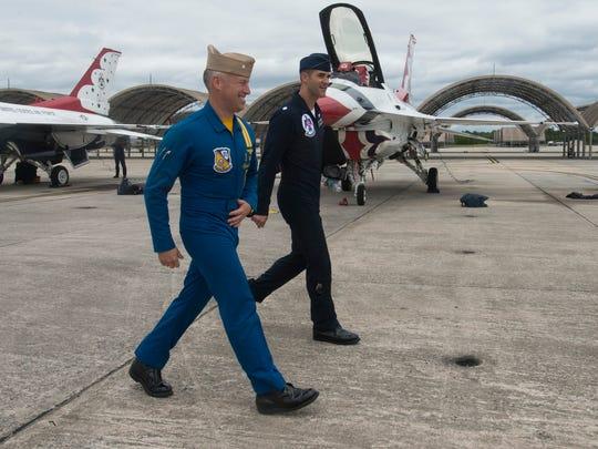 Blue Angels Commanding Officer, Ryan Bernacchi, left,
