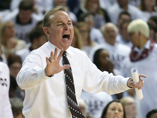 Mississippi State head coach Vic Schaefer screams out to his players during the fourth quarter of State's 67-53 win over South Carolina on Feb. 5, 2018. Photo by Keith Warren