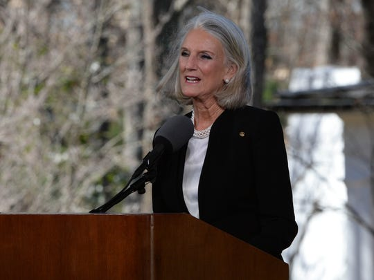 Anne Graham Lotz, daughter of Billy Graham, offers a family tribute during the private funeral service for Billy Graham in a tent outside the Billy Graham Library in Charlotte, N.C. on Friday, March 2, 2018.
