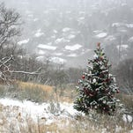 This Dec. 3 photo shows an evergreen tree that is decorated beside the Bonneville Shoreline Trail in the foothills above Ogden. About this time every year, for at least the last half-dozen or so, someone has been decorating a small evergreen tree in the foothills above Ogden, carefully placing ornaments on the branches, draping it in garland and, this year, topping it with a large red snowflake. (AP Photo/Standard-Examiner, Mark Saal)