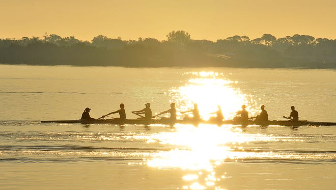 College rowers train on Sykes Creek, a waterway where $10 million worth of lagoon sales tax money is targeted for muck removal..