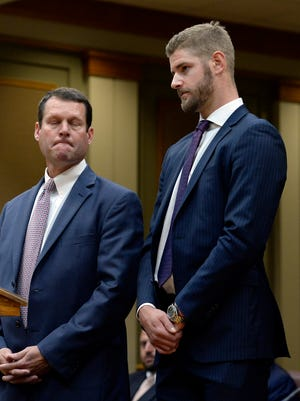 Nashville Predators Austin Watson appears in the Williamson County General Sessions Court with his attorney Mark Puryear III Tuesday, July 24, 2018, in Franklin, Tenn. Watson is accused of a misdemeanor domestic assault charge.