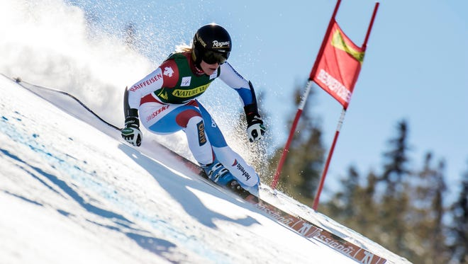 During a training run Wednesday, Lara Gut skis the second downhill training run on the Raptor course at Beaver Creek Mountain in Colo. She won the women's downhill race Friday.